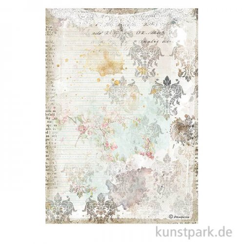 Stamperia Reispapier - Romantic Journal Texture with Lace DIN A4