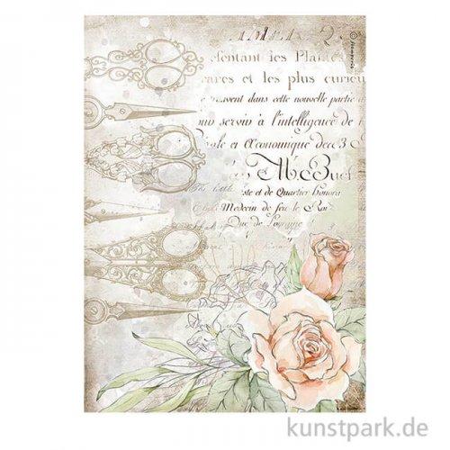 Stamperia Reispapier - Romantic Threads Scissors and Roses, DIN A4