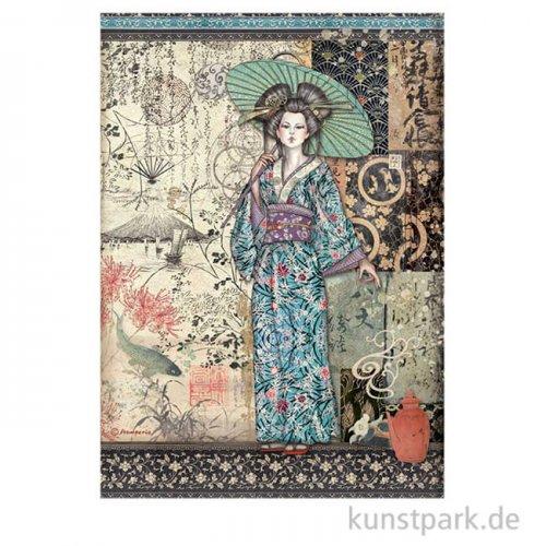 Stamperia Reispapier - Sir Vagabond in Japan Lady, DIN A4