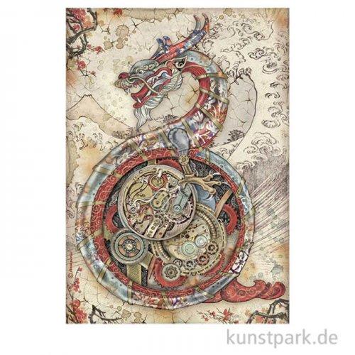 Stamperia Reispapier - Sir Vagabond in Japan Mechanical Dragon, DIN A4