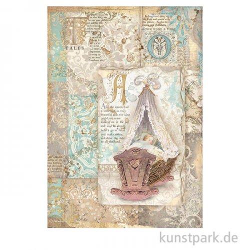 Stamperia Reispapier - Sleeping Beauty Cradle, DIN A4