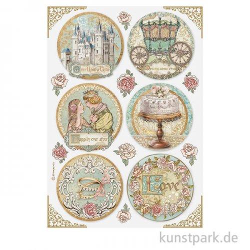 Stamperia Reispapier - Sleeping Beauty Rounds, DIN A4
