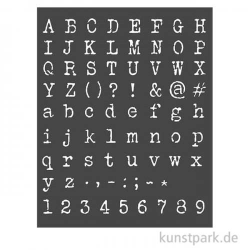 Stamperia Schablone - Calligraphy Alphabet and Numbers, 20 x 25 cm