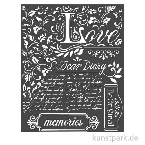 Stamperia Schablone - Calligraphy Dear Diary, 20 x 25 cm