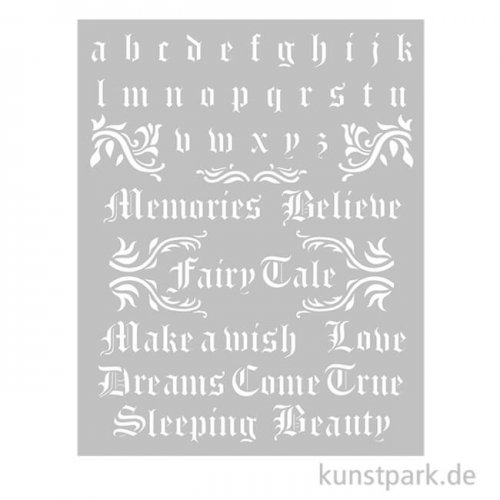 Stamperia Schablone - Sleeping Beauty Alphabet and Quotes, 20 x 25 cm