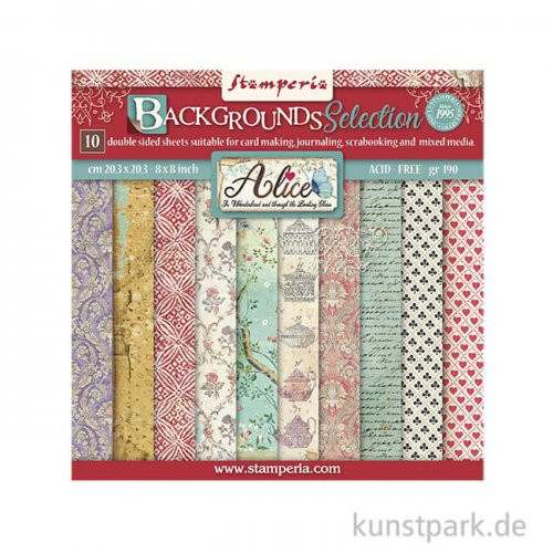 Stamperia Scrapbooking Pad Alice Backgrounds Selection, 20,3 x 20,3cm