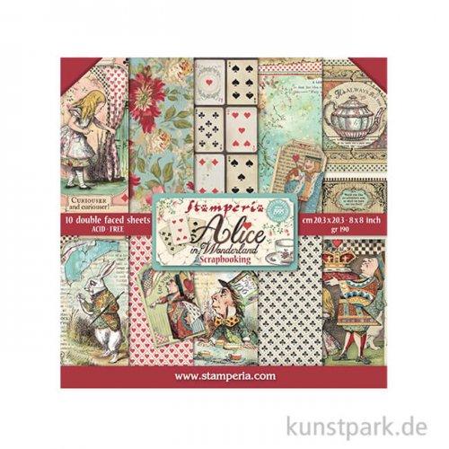 Stamperia Scrapbooking Pad Alice in Wonderland, 20,3 x 20,3 cm