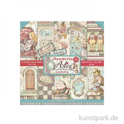 Stamperia Scrapbooking Pad Alice Through the Looking Glass 15,24x15,24cm