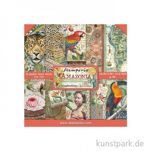 Stamperia Scrapbooking Pad - Amazonia, 20,3 x 20,3 cm, 10 Blatt