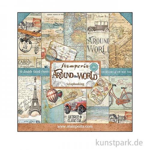 Stamperia Scrapbooking Pad - Around the World, 30,5 x 30,5 cm, 10 Blatt