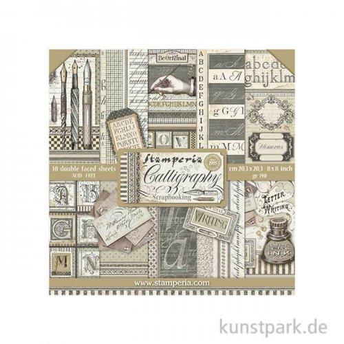 Stamperia Scrapbooking Pad - Calligraphy, 20,3 x 20,3 cm, 10 Blatt