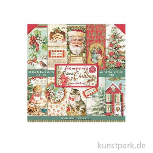 Stamperia Scrapbooking Pad - Classic Christmas, 15,24 x 15,24 cm
