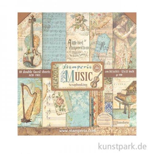 Stamperia Scrapbooking Pad - Music, 30,5 x 30,5 cm, 10 Blatt