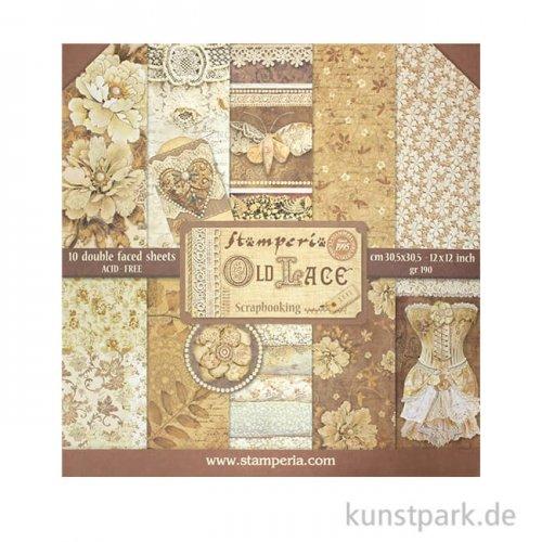 Stamperia Scrapbooking Pad - Old Lace, 30,5 x 30,5 cm, 10 Blatt