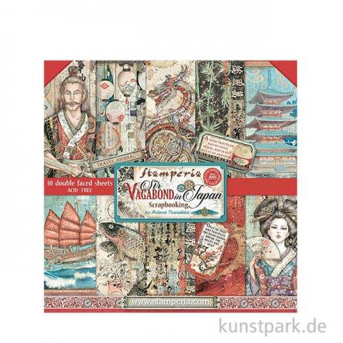 Stamperia Scrapbooking Pad - Sir Vagabond in Japan, 20,3 x 20,3 cm
