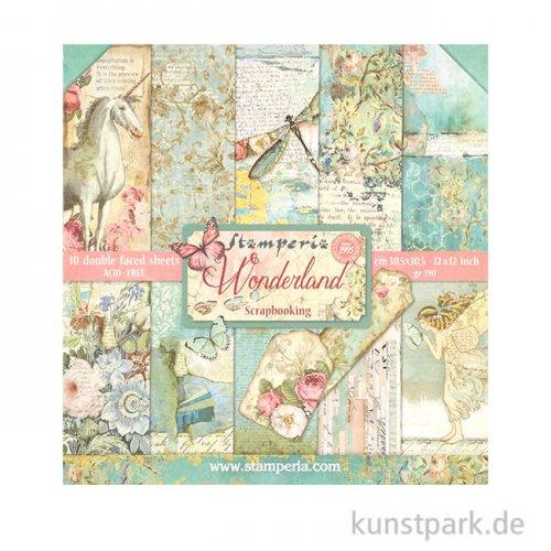 Stamperia Scrapbooking Pad - Wonderland, 30,5 x 30,5 cm, 10 Blatt