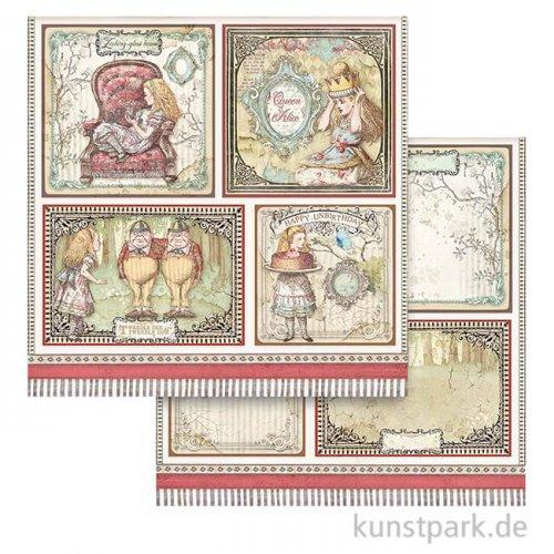 Stamperia Scrappapier - Alice 4 Cards, 30,5x30,5 cm