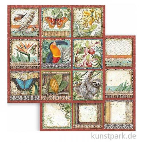 Stamperia Scrappapier - Amazonia Square Tags, 30,5x30,5 cm