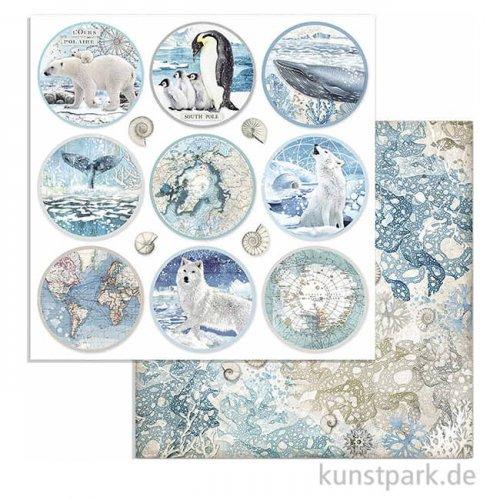 Stamperia Scrappapier - Arctic Antarctic Paper Rounds, 30,5 x 30,5 cm