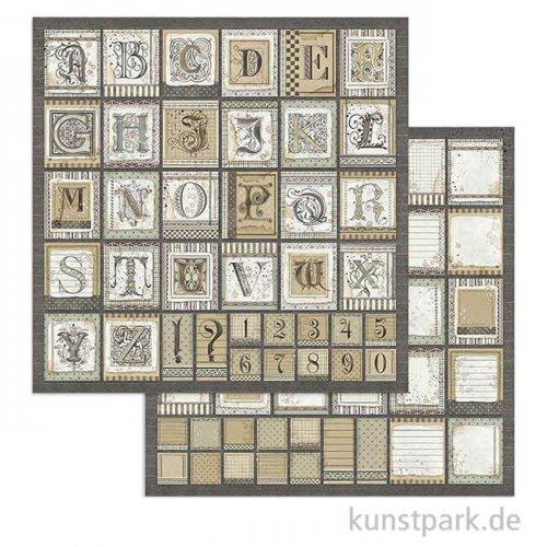 Stamperia Scrappapier - Calligraphy Alphabet, 30,5 x 30,5 cm
