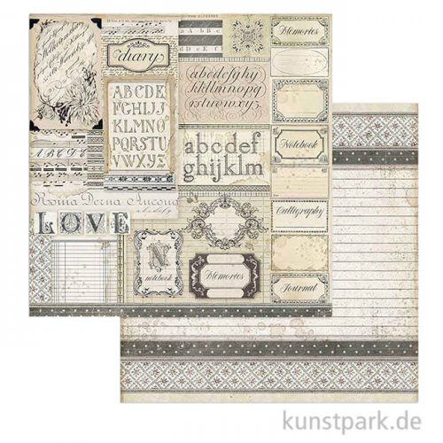 Stamperia Scrappapier - Calligraphy Patchwork of Labels, 30,5x30,5 cm