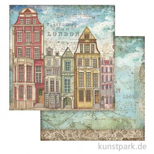 Stamperia Scrappapier - Lady Vagabond London Houses, 30,5 x 30,5 cm