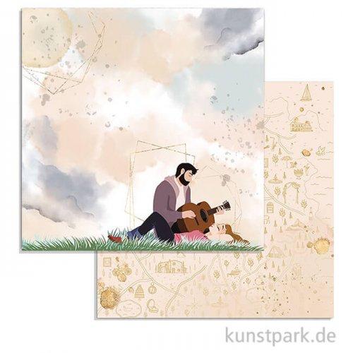 Stamperia Scrappapier - Love Story Guitar, 30,5 x 30,5 cm