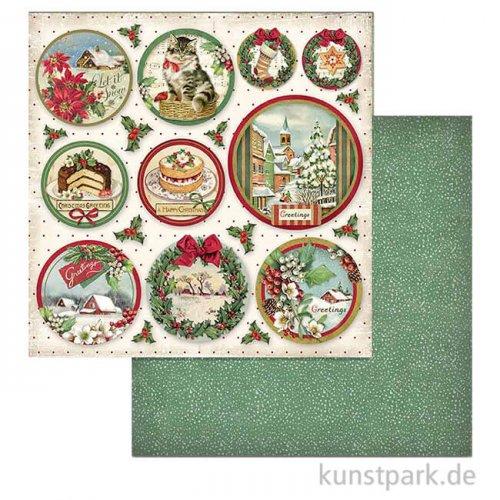 Stamperia Scrappapier - Merry Christmas Rounds, 30,5x30,5 cm