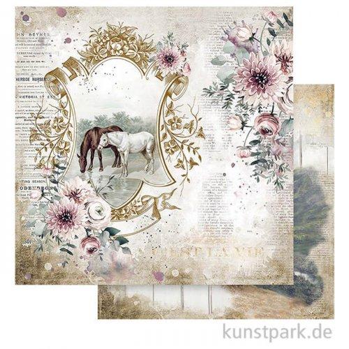 Stamperia Scrappapier - Romantic Horses Lake, 30,5 x 30,5 cm