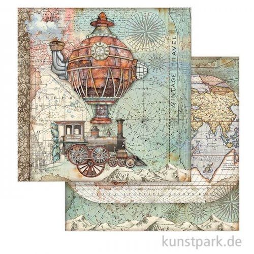 Stamperia Scrappapier - Sir Vagabond Flying Train, 30,5 x 30,5 cm