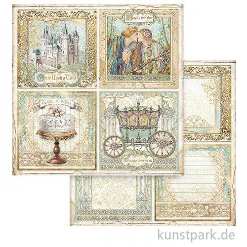 Stamperia Scrappapier - Sleeping Beauty 4 Cards, 30,5x30,5 cm