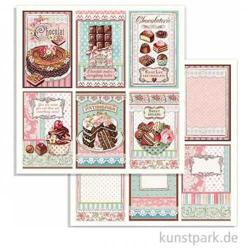 Stamperia Scrappapier - Sweety Chocolate Cards, 30,5 x 30,5 cm