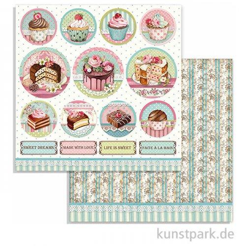 Stamperia Scrappapier - Sweety Mini Cakes Round, 30,5 x 30,5 cm