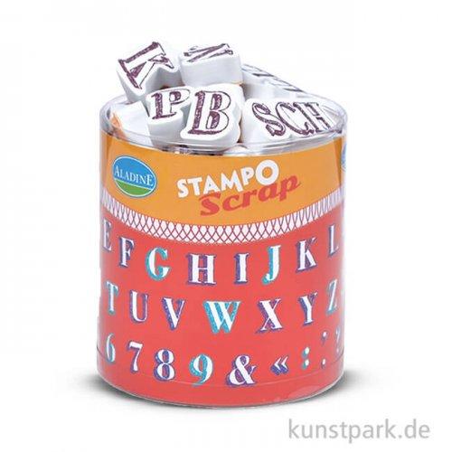 STAMPO Scrap Stempel & Farbe, 54er Set - Alphabet 1