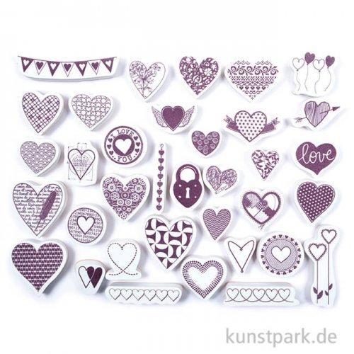 STAMPO Scrap Stempel & Farbe, 35er Set - Herzen
