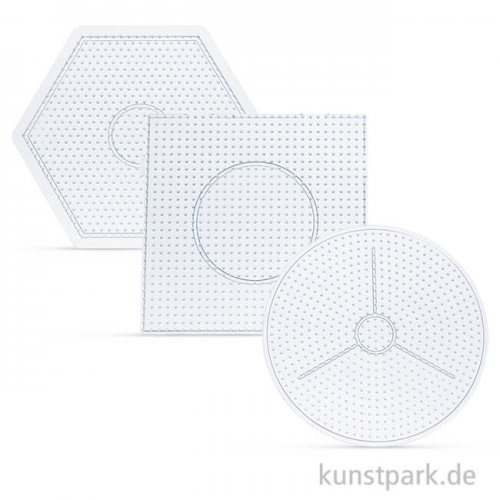 Steckplatten-Set für Bügelperlen - Basic Groß, 3 Stück sortiert