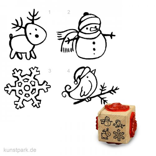 Stempel - 4 mal kleine Weihnachtsmotive - Würfel