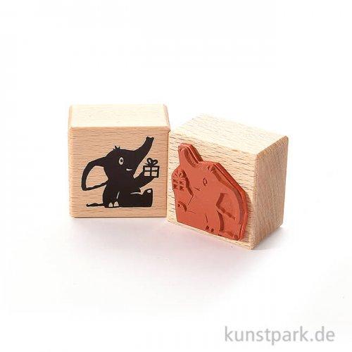 Stempel - Elefant mit Geschenk, 4 x 4 cm