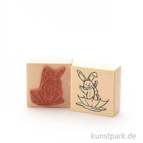 Stempel - Hase im Regenschirm - 6x6 cm