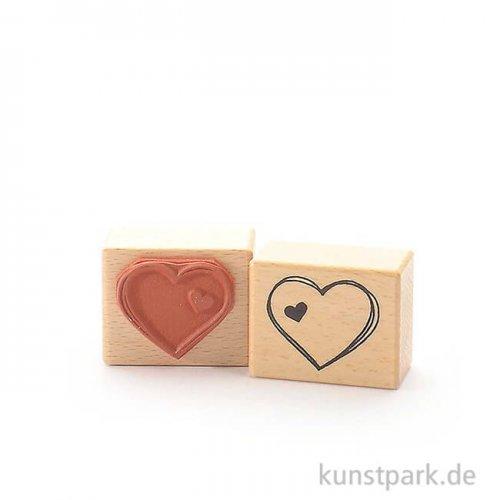 Stempel - Herz mit Herz - 4x5 cm