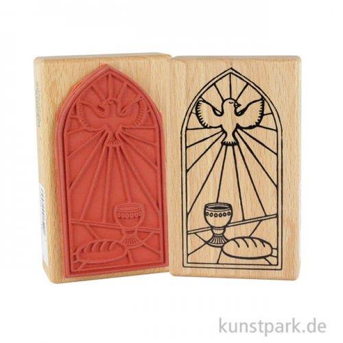 Stempel - Kirchenfenster mit Taube - 6x10 cm