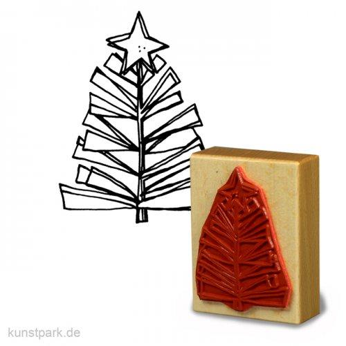 Stempel - Stilisierter Weihnachtsbaum mit Stern - 6x8 cm