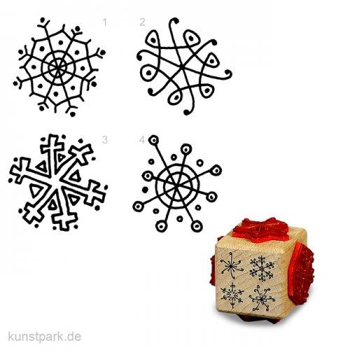 Stempel - Vier flotte Schneeflocken – Würfel