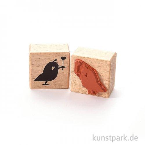 Stempel - Vogel mit Herz, 4 x 4 cm