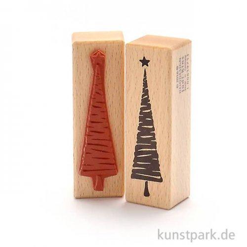 Stempel - Weihnachtsbaum mit Streifen, 3x9 cm