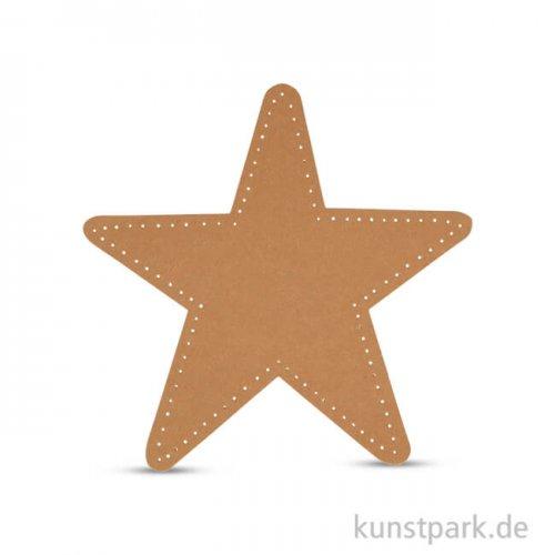 Stern aus Lederpapier, 17 cm, 4 Stück - Natur