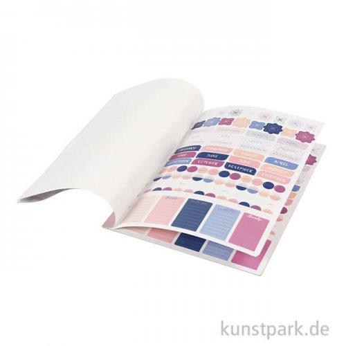 Sticker-Buch für Kreativbücher - Blumendesign Lila-Gold-Rosa, 8 Bögen