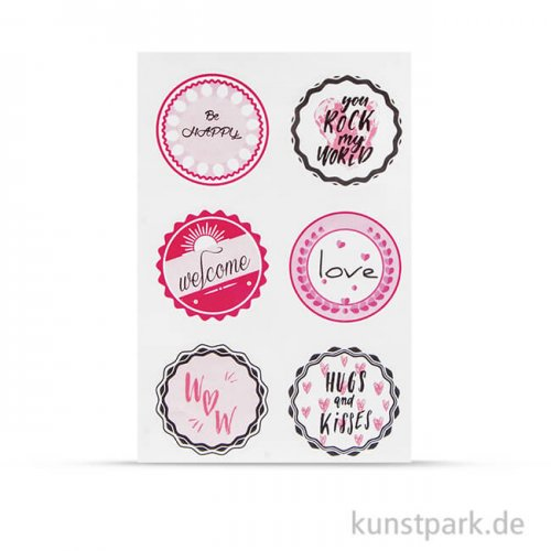 Sticker - Hugs + Kisses, 24 Stück sortiert