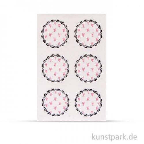 Sticker - Rosa Herzen, 24 Stück sortiert