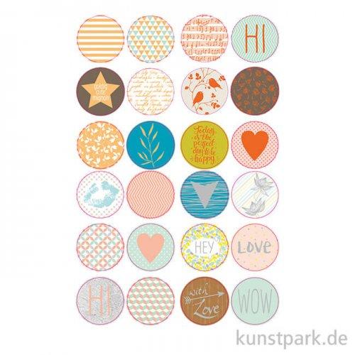 Sticker rund - Hotfoil, selbstkebend, 24 Stück sortiert